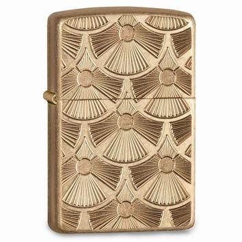 Zippo Fanned Discs Tumbled Brass Lighter
