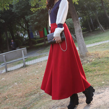 Women's A-line Maxi Skirt Red Wool Skirt Winter Wool Dress Long Skirt Woolen Skirt -WH175