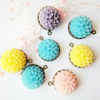 Add On Charm Blue Yellow Pink Purple Sweeet Chrysanthemum Flowers