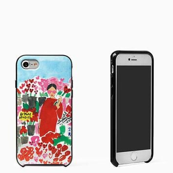 New KATE SPADE Tech DIVA Floral BELLA Cheeky JEWELED iPhone 7 HARD-SHELL Case