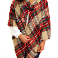 Blanket Scarf Toggle Poncho