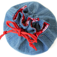 Denim Bucket Bag Red White Flowers Upcycled Blue Jeans Makeup Travel Tote - US Shipping Included