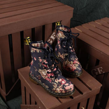 Ladies Floral Printed Boots Shoes