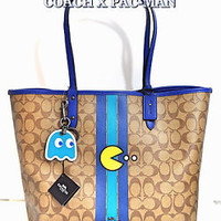 COACH X PAC-MAN LTD Signature Stripe Reverse Tote Bag, Makeup Pouch & Key Chain!
