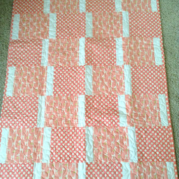 "Baby Peach Giraffes Blanket - 33"" x 44"" - Gender Neutral - Peach/Cream SPECIAL"