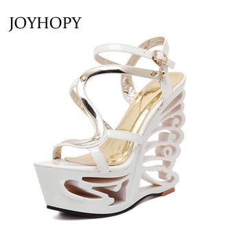JOYHOPY Summer Fashion Patent Leather Gladiator Sandals Women Buckle Strap Super High Heels wedges Platform Shoes Woman WS1650