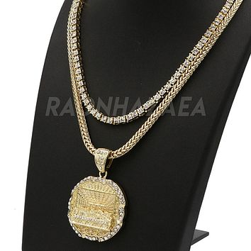 Hip Hop Iced Out MEDALLION LAST SUPPER Exclusive Pendant W/ Franco & Tennis Choker Chain Set