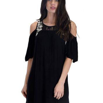 SL3670 Black Sleeve Cold Shoulder Shirt Dress With Lace And Floral Embroidery
