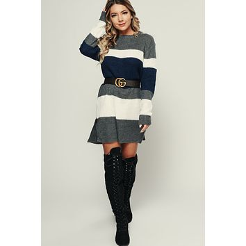 Tiptop Color Block Tunic (Navy/Grey)