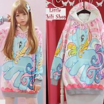 Girls Kawaii Cute Colorful lolita cartoon fantasy Lady GAGA barbie Hoodie Shirt