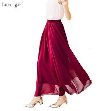 Women's Elegant Chiffon Maxi Skirt High Waist Elastic Waist Casual Long Skirts Saias 80/90/100cm 22 Color 2017 Summer Autumn New