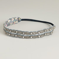Gray and Silver Beaded Elastic Double Headband - World Market