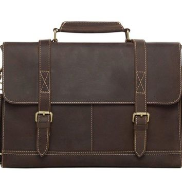 BLUESEBE MEN HANDMADE GENUINE LEATHER VINTAGE SATCHEL/MESSENGER BAG 6938