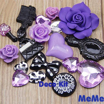 1 Set  Purple Deco Kit Resin Flower Gems Comb Bag Bow Accessories Cabochon Deco Den on Craft Cell Phone Case DIY Deco kit DD3690