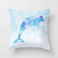 Dolphin Pillow Case, Nautical Home Decor, Beach Art, Nursery Art, Dolphin Pillow Cover, Decorative Pillow Case, Watercolor Dolphin Pillow