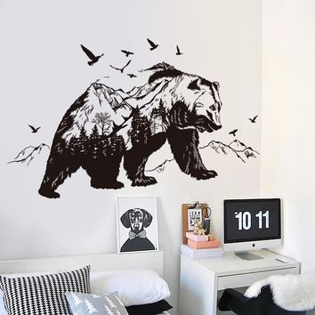 3d Mountain Bear Animal Wall Stickers Vinyl DIY Decoration for Home House Living Room Art Decal Poster Wall paper Decor on wall