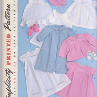 1948 Reproduction pattern for baby layette gowns jacket hat booties size newborn 3 months 6 months 12 months 18 months Simplicity 2629 UNCUT