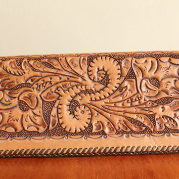 SALE - 50s/60s - Vintage - Hand Tooled - Floral - Leather - Folded Wallet - Long - Billfold - Clutch