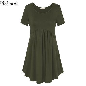 Summer T-Shirt Dress Short Sleeve Knitted Big Hem Solid Tunic Dress Female Stretch Casual Soft Pregnant Dress