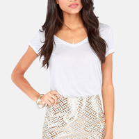 Weave-ening Attire Cream and Gold Brocade Mini Skirt