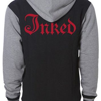 "Men's ""Inked Logo"" Varsity Zip-Up Hoodie by Inked (Black)"