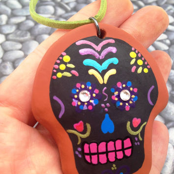 Day of the Dead Sugar Skull, hand crafted and painted Ornament