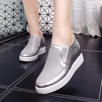 5cm High Heel 2016 Autumn PU Breathable Women's Casual Shoes Silver Platform Loafers Flat Shoes Women Creepers Casual Flats