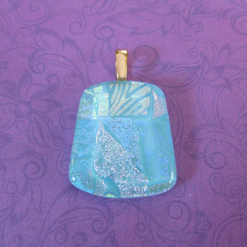 Blue Dichroic Pendant, Omega Slide, One of a Kind Fused Glass Jewelry - Annamarie - 4582 -4