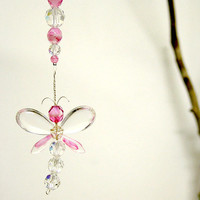 Rear View Mirror Charm Pink Dragonfly Swarovski Crystal Suncatcher Car Charm Hanging Easter Decor Easter Ornament Kids Gift Car Accessories