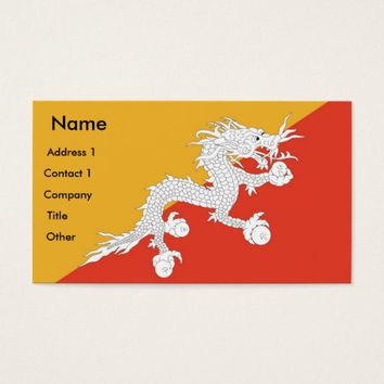 Business Card with Flag of Bhutan