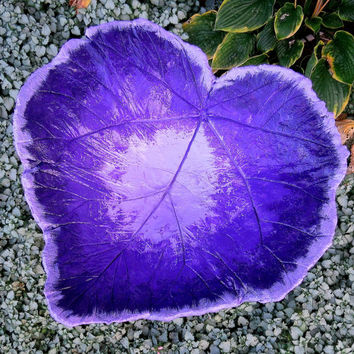 Concrete leaf birdbath , Purple colored bird bath, Yard art, Patio decor, One of a kind stone bird bath/ feeder