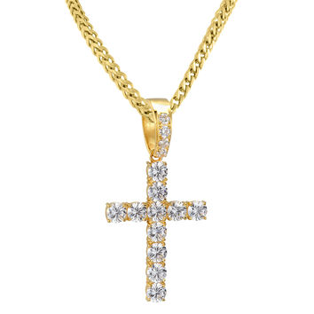 """14k Gold Finish Custom 8mm Solitaire Prong Set Steel Iced Out Cross Pendant with 24"""" Franco Chain"""