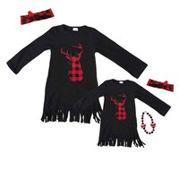Red Plaid Deer Dress Buffalo Fringe Black Mommy Me