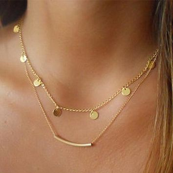 N275 Bohemian Minimalist Necklace Women Fashion Jewelry Coin Tube Chain Collares Bohemian Multilayer Necklaces Summer