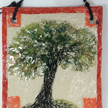 Wall Plaque, Ceramic Art, Ceramic Plaque, Wall Hanging, Wall Art, Tree Art