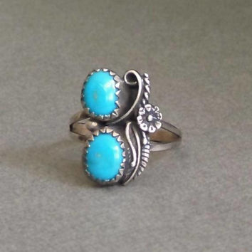 OLD Pawn Turquoise RING Sterling NAVAJO Desert Flower Leaf Scrolls Vintage Native American Indian Jewelry, Size 7 1/2 Signed, Gift for Her