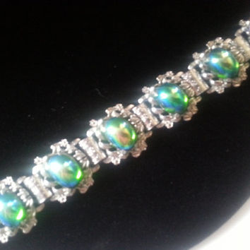 1950's 1960's Vintage Art Carnival Glass Stone Bracelet, Unsigned Judy Lee, High End Collectible Jewelry, Mad Men Mod