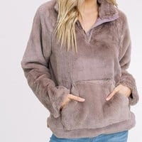 Buzzed On Fuzz Pullover Sweatshirt in Mocha Gray
