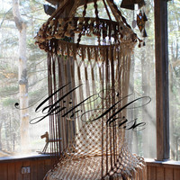Handmade OOAK Macrame Vintage Retro Style Hanging Woodstock Hippie Elf Fairy Swing Chair as seen on HGTV Junk Gypsy series
