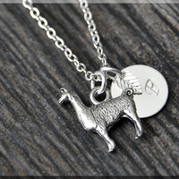 Silver Alpaca Charm Necklace, Initial Charm Necklace, Personalized, Llama Pendant, Wild Life Jewelry, Monogram Farm Animal Necklace