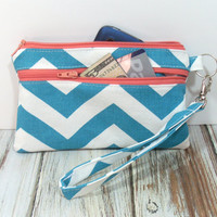 Turquoise Wristlet, Phone Wallet, Cell Phone Wristlet, Chevron Wristlet Wallet, Clutch with Wristlet