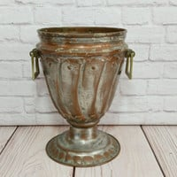 Vintage Urn Style Metal Planter Brass Accents