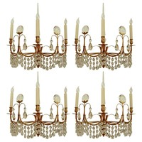 Four Austrian Mid-Century Modern Gilt Bronze and Crystal Sconces