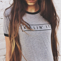 Killin' It Brandy Melville Inspired Shirt - Heather Gray Ringer Shirt