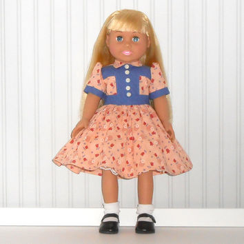 American Girl Doll Clothes Blue and Peach Dress 1940 Vintage Inspired with White Slip fits 18 inch dolls