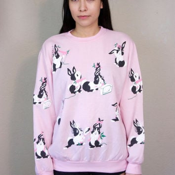 20% SALE 90s Pink Bunnies Sweatshirt / Oversized Crewneck Pale Pastel Kawaii Kitsch Soft Grunge Baggy Bunny Rabbits Sweater / Size M Medium