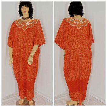 60's Kaftan, size L / 2X, maxi festival dress, embellished, embroidered, boho, hippie