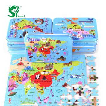 Map puzzle 120 intercontinental iron box puzzle board baby child educational Wooden Toys for Children oyuncak