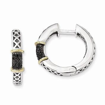 Sterling Silver w/14k Gold Antiqued 1/10ct. Black Diamond Hinged Hoop Earrings