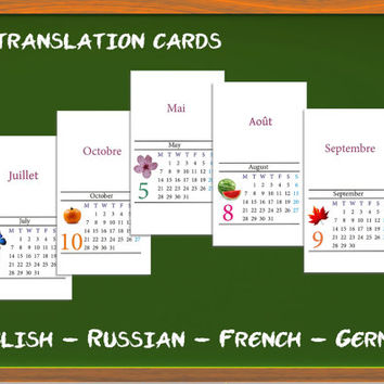 Calendar months and days of the week in Russian, French, English, German: Translation cards, Word game, children's game, learn a language